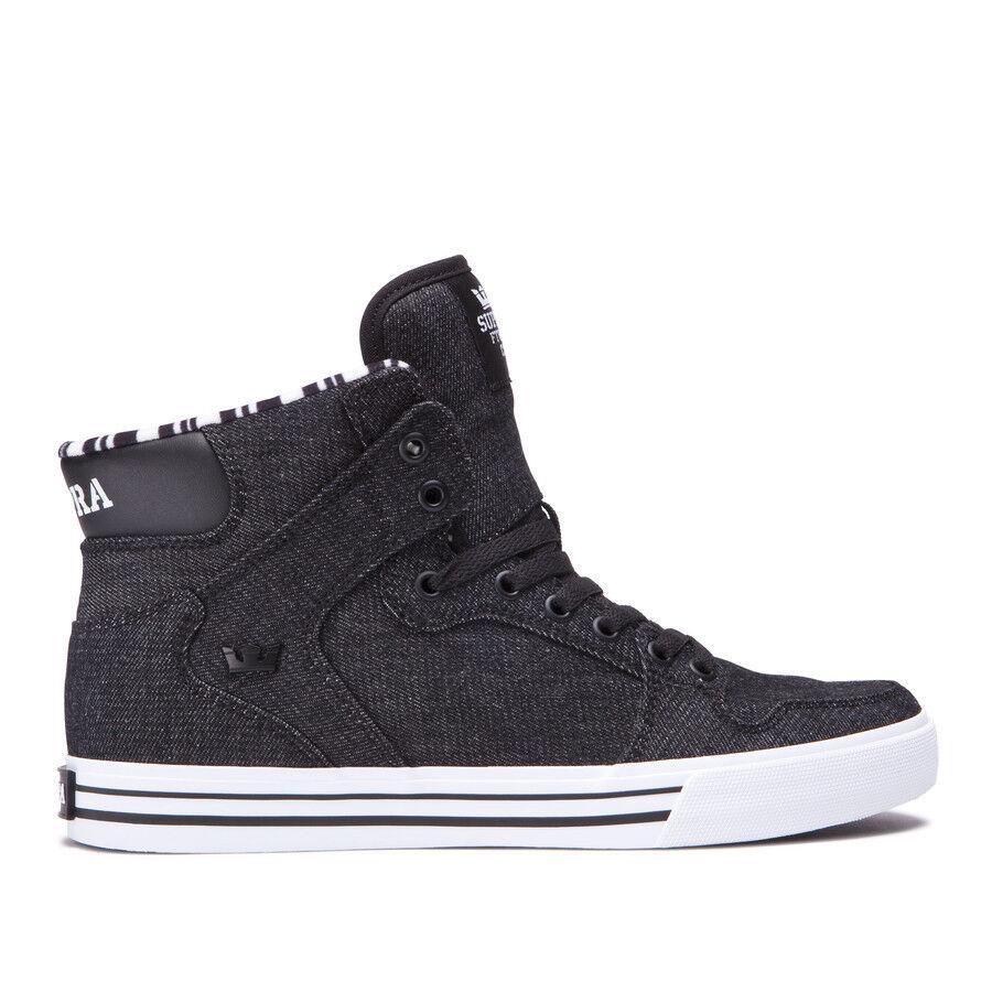 Supra Men's Vaider Skate Shoes Black-White  08204-023-M  Fast Shipping