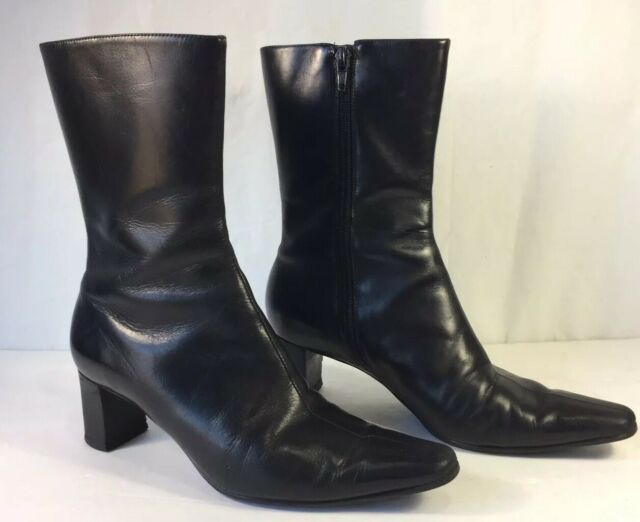 Nine West Mid Calf Black Leather Boots