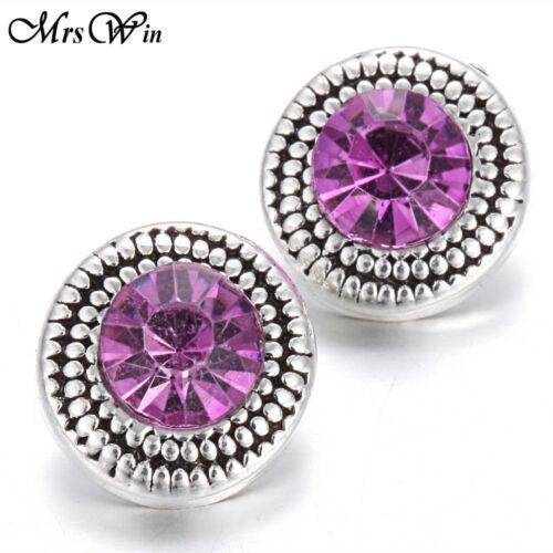 New 10pcs//lot New Rhinestone 12mm Snaps Buttons Fit Noosa Bracelets Jewelry