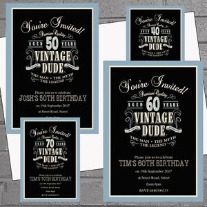 50 x mens birthday party invitations 30th 40th 50th 60th 70th