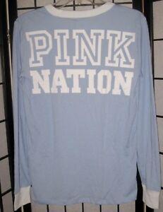 4b231768ed094 NWT VICTORIA'S SECRET PINK NATION BLUE WHITE LOGO LONG SLEEVE RINGER ...