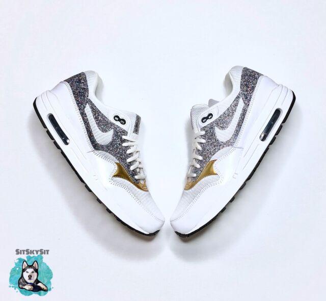 Nike Air Max 1 SE White Gold Black 881101 100 Women Size 7.5