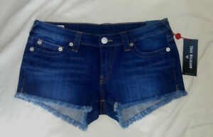 TRUE-RELIGION-24-30-31-Dark-Velocity-Denim-Joey-Low-Rise-Cut-Off-Jeans-Shorts