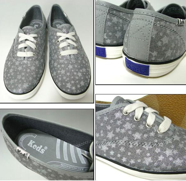 Keds Keds Keds  Metallic Star print color  silver (slate grey-bluee) Women size 9 sneakers ff4bb8