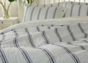 4 pcs Set Shabby Pre washed organic 100/% Linen striped duvet cover pillow shams