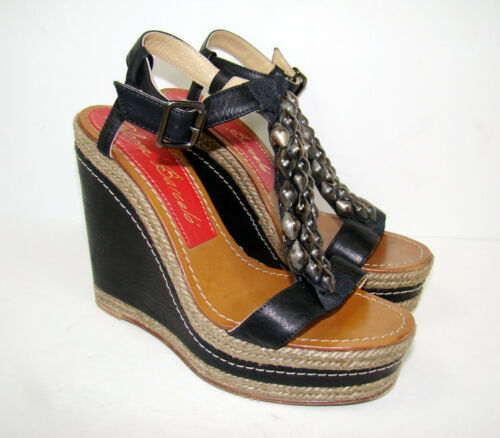 PALOMA BARCELO Black Studded Wedge Sandels Leather