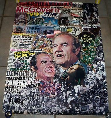 RARE 1972 VINTAGE GEORGE MCGOVERN FOR PRESIDENT ANTI VIETNAM WAR CAMPAIGN POSTER