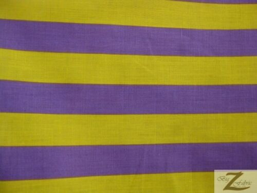 "Purple//Yellow POLY COTTON 1/"" STRIPE FABRIC SOLD BY YARD BED SPREADS SHIRTS"