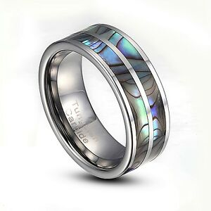 Tungsten-Carbide-8mm-Abalone-Striped-Inlay-Comfort-Fit-Ring-US-Size-8-14-TG003