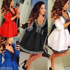 AU Women 3/4 Sleeve Skirt Dress Ladies Evening Party Mini Skater Dress Size 8-16