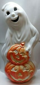 VINTAGE-HALLOWEEN-1997-GRAND-VENTURE-30-034-GHOST-WITH-2-PUMPKINS-BLOW-MOLD-NO-CORD