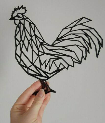Géométrique Jeune Coq Rooster Wall Art Decor Pendaison Décoration Origami Style