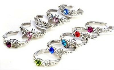 New Silver Plated Elegant Trendy Crystal Rings Women Jewellery Size 16 mm -18 mm