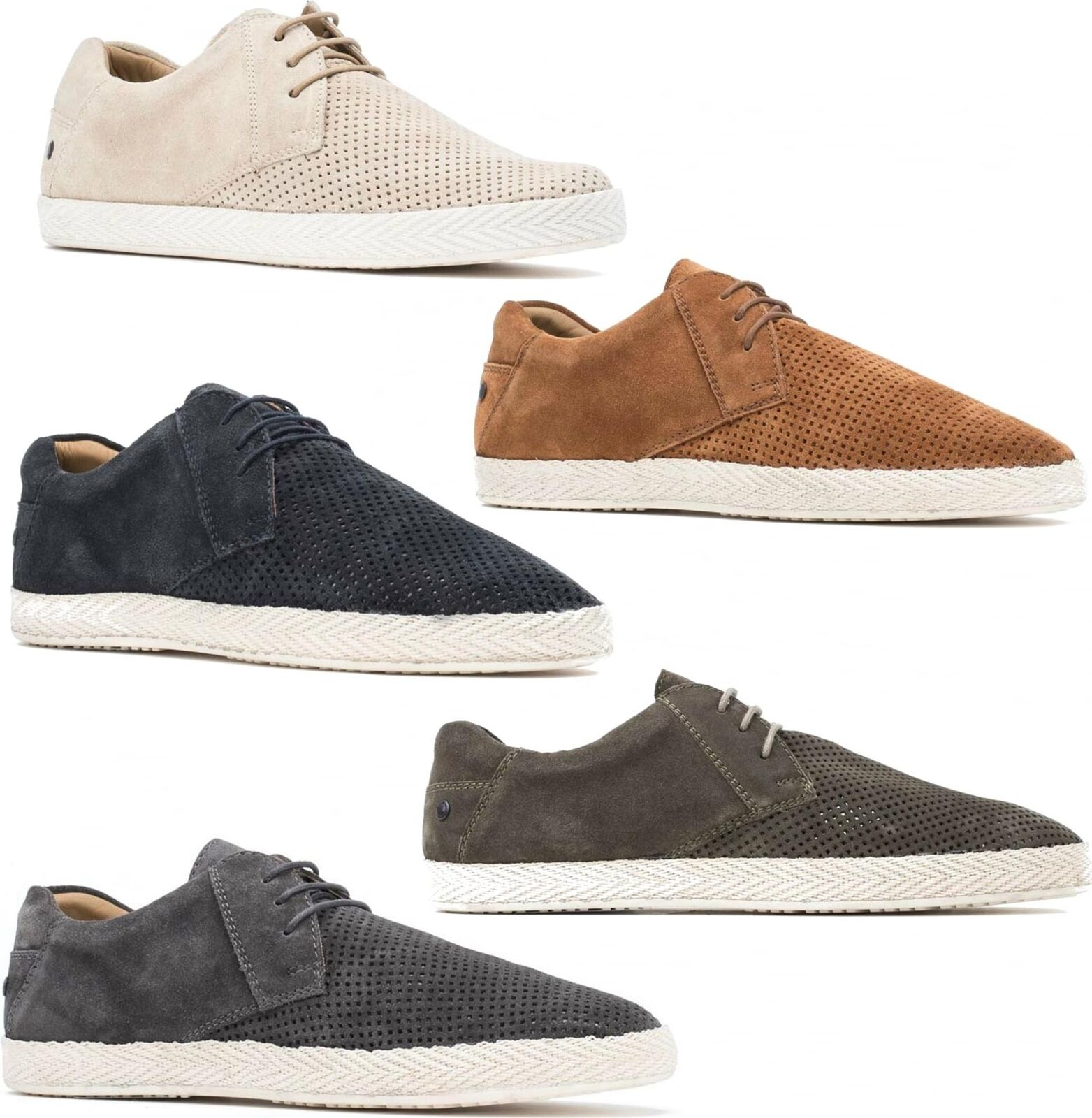 Base London KEEL Mens Suede Leather Casual Laced Trainer Espadrille Retro shoes