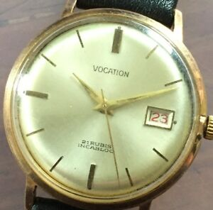 Vintage-Working-Vocation-Incabloc-Mechanical-Manual-Wind-Date-WristWATCH-Watch
