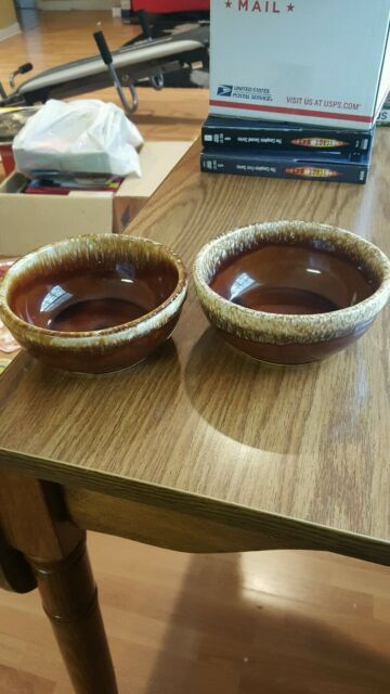 LOT OF 2 KATHY KALE BROWN DRIP MCCOY POTTERY FRUIT OR CEREAL BOWLS