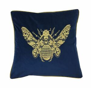 2XEMBROIDERED-Abeille-Royal-Bleu-Or-Velours-Ambiance-50-8cm-50CM-Housse