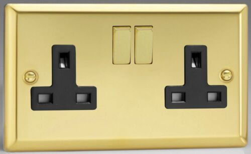 Varilight Classic 2 Gang 13A Double Pole Switched Socket Victorian Brass