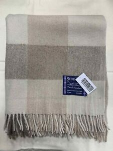 100% Wool Blanket | Tweeds Of Scotland | Natural Camel Check | Warm & Classic