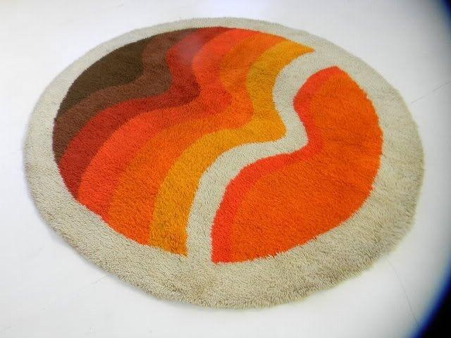 round eames era orange midcentury mod danish sculptural 60s 70s vintage loft rug