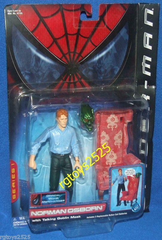 Spiderman The Movie 5  Norman Osborn w Talking Goblin Mask Factory Sealed 2001