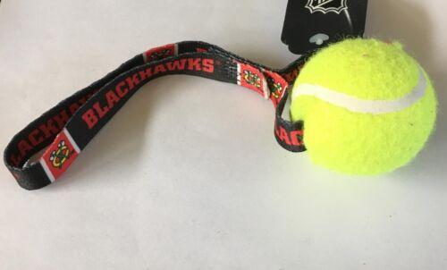 NEW CHICAGO BLACKHAWKS TENNIS BALL TUG TOSS DOG TOY LICENSED