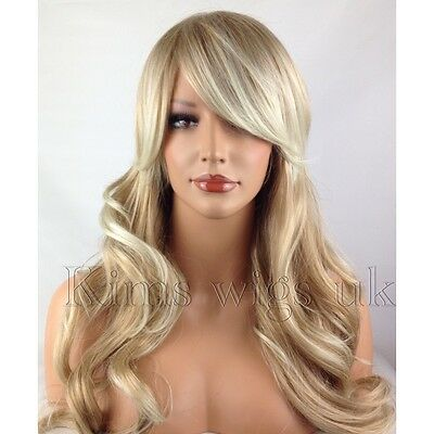 NEW FULL LONG WOMENS LADIES FASHION HAIR WAVY WIG TWO TONE BLONDE MIX KW71