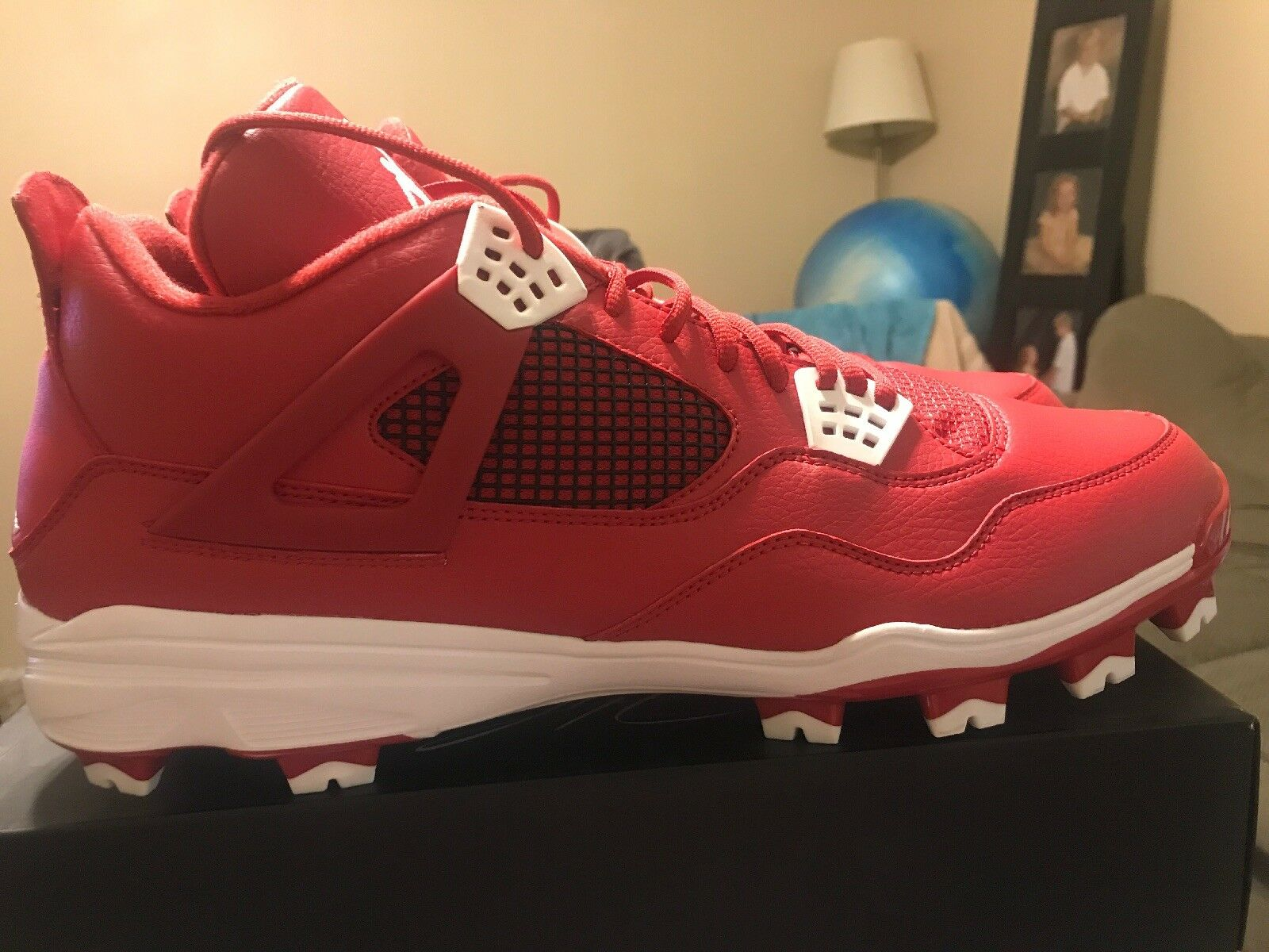New Nike Air Jordan Retro IV 4 Baseball Cleats Red White Sz 16 807709-601
