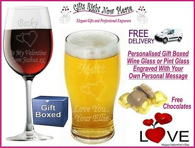 Engraved Valentines Wine// Pint Glass Personalised Romantic Boy Friend Gift