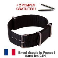 BRACELET NATO 20 MM NOIR + 2 POMPES tige montre watch black strap NEUF Envoi 24H
