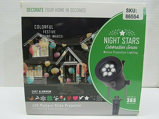 Night Stars LED Lightshow Holiday Icon Motion Projector White