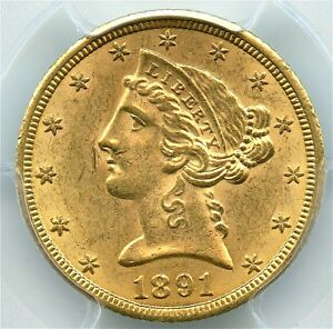 1891-CC $5 Gold Liberty Half Eagle, PCGS MS-63, Flashy Gold and Brilliant Coin!