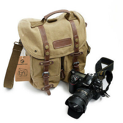 Koolertron Vintage Canvas DSLR SLR Camera Bag Padded Insert Bag Shoulder Bag