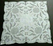 Appenzell Embroidery Linen Handkerchief, Ornate w/Gray Undertones, Wedding VTG.