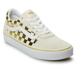 NIB VANS WARD SNEAKERS FOR WOMEN NIB CASUAL SKATE SHOES white gold ... 30c9a494c