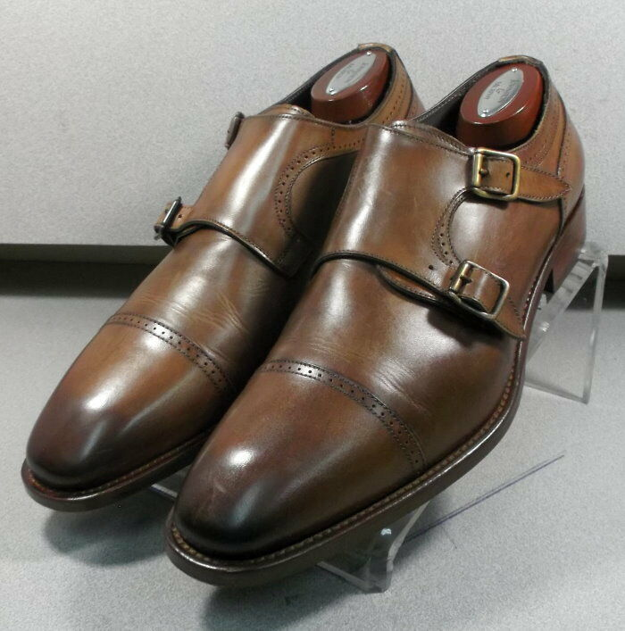 242608X PFi60 Chaussures Hommes Taille 9.5 M marron en cuir MADE IN ITALY Johnston Murphy