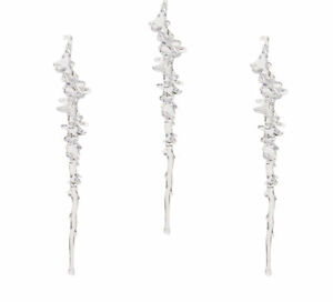 3 x Clear /& Blue Glitter Icicle Baubles Hanging Christmas Decorations 25cm