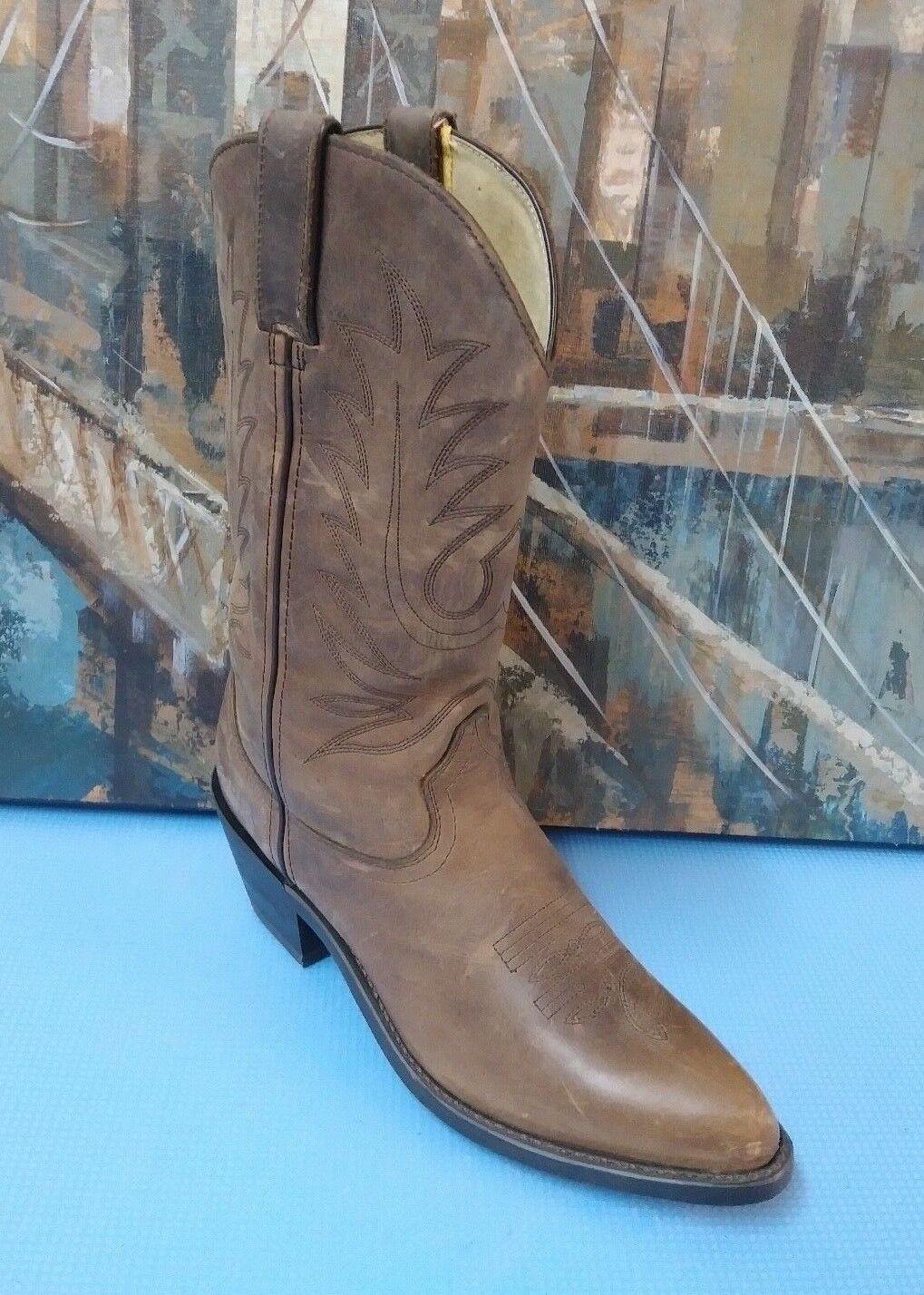 DURANGO Braun Leder Cowboy Stiefel Größe 7 M Style RD4112