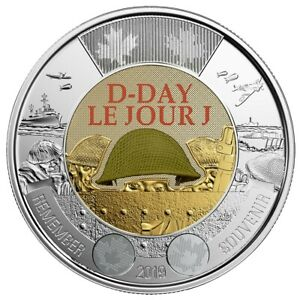 2019-Canada-2-D-Day-UNC-Coloured-Toonie-Coin-From-Special-Wrap-Roll