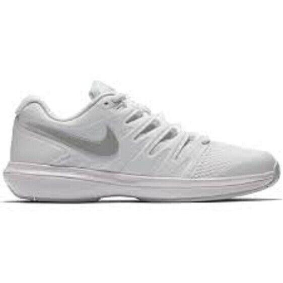 NEW donna NIKE ZOOM PRESTIGE HC (bianca METALLIC SIL) TENNIS scarpe AA8024-101