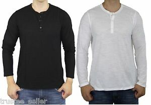 de484cad85 NWT Vince Men's Black White Slub Jersey Henley Long Sleeve Top ...
