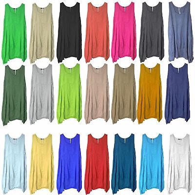 New Womens Plain Italian Lagenlook Quirky Long Boho Pocket Linen Tunic Dress