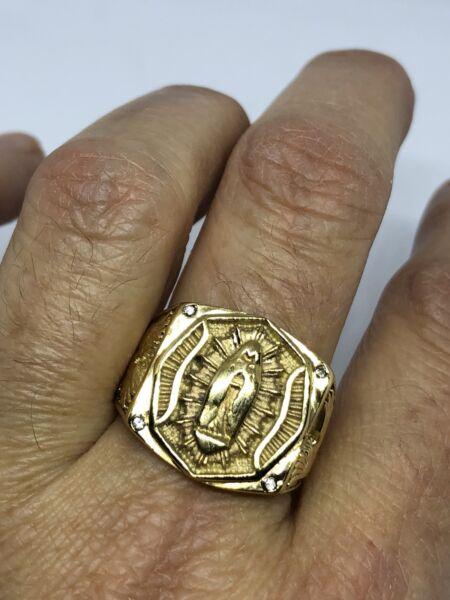 100% QualitäT Vintage Gold Edelstahl Mutter Maria Heiliger Größe 12 Herren Ring StraßEnpreis