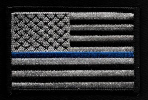 Blue Line Black /& Silver USA American Flag Law Enforcement Police Patch