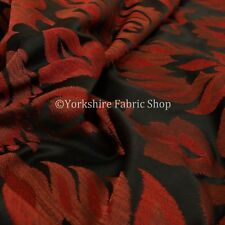 Stunning Red Satin with Black and White Flower Curtain Fabric New BR238