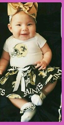 Saints inspired baby girl outfit