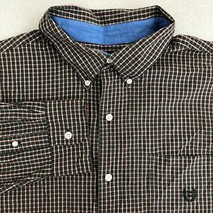 Chaps-Button-Up-Shirt-Mens-2XL-Green-Red-Long-Sleeve-Cotton-Check-Pocket-Casual