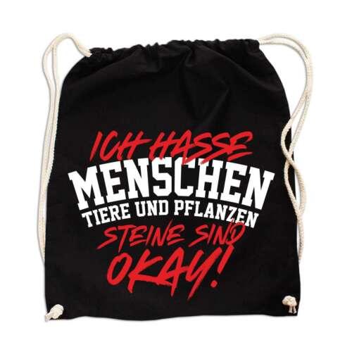Rucksack Tasche Beutel Ich hasse Menschen Tiere Pflanzen STEINE OK spass Lustige