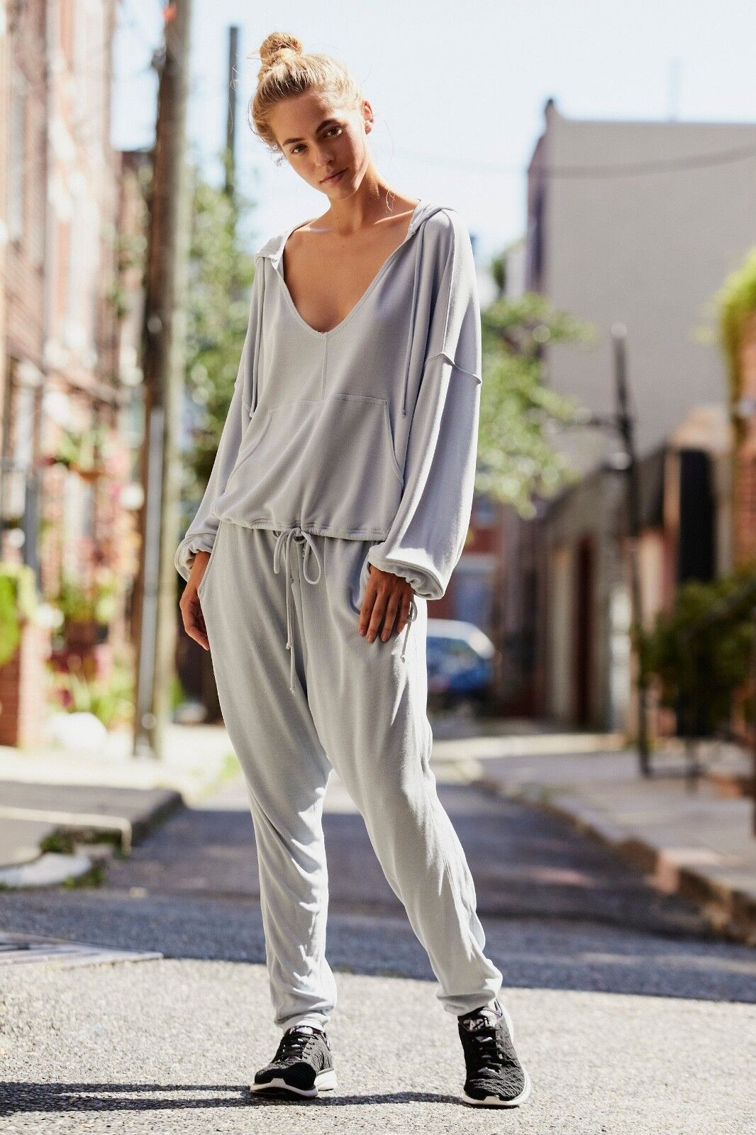 NWT Free People Movement Yella Harem Jogger Sz. Large  Light Grey