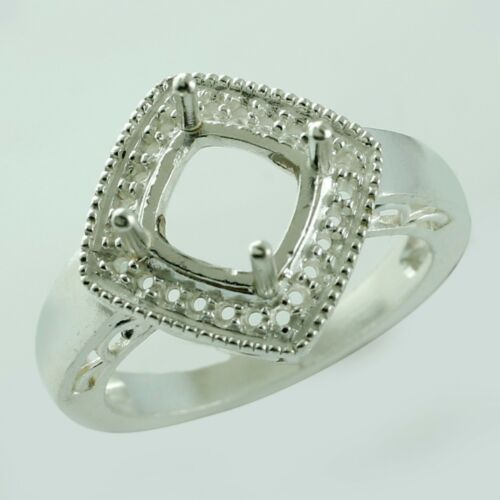 925 Sterling Silver Semi Mount Cushion Shape 7 MM Authentic Wedding Gift Jewelry